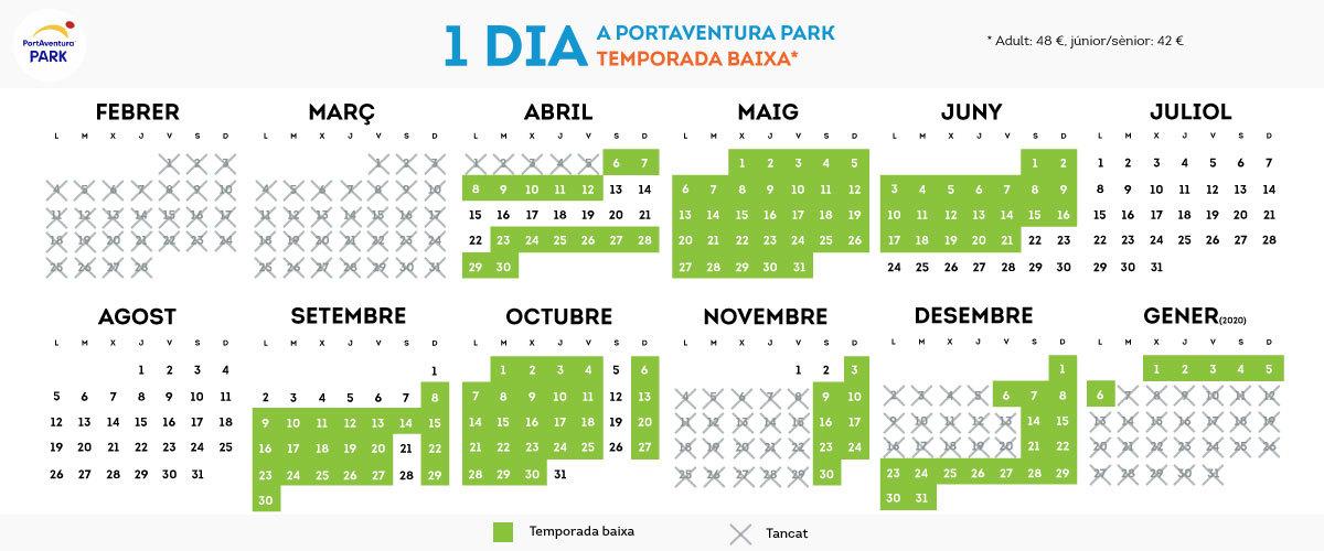 Calendario de PorAventura Parck