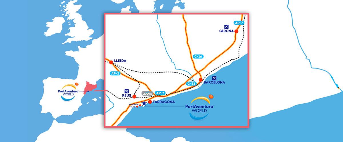 mapa como llegar portaventura