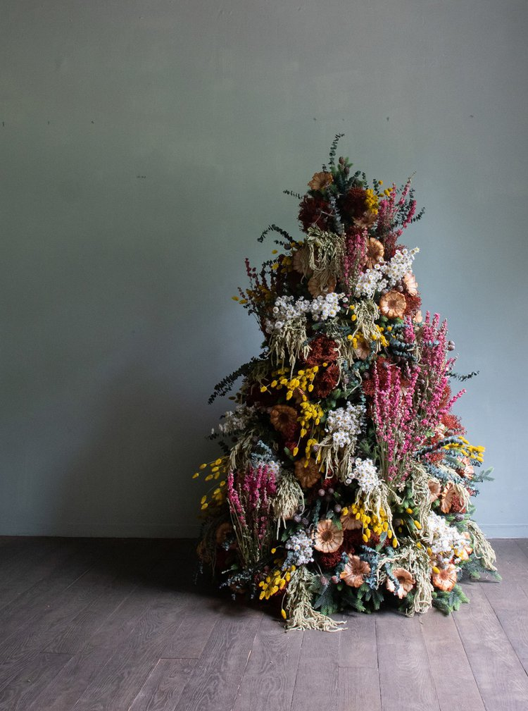 Sustainable decorations like this tree from McQueens Flowers