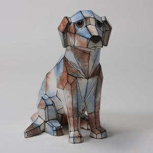 Faceted Dog by Mayco: 9.5 x 9.5 x 5.75