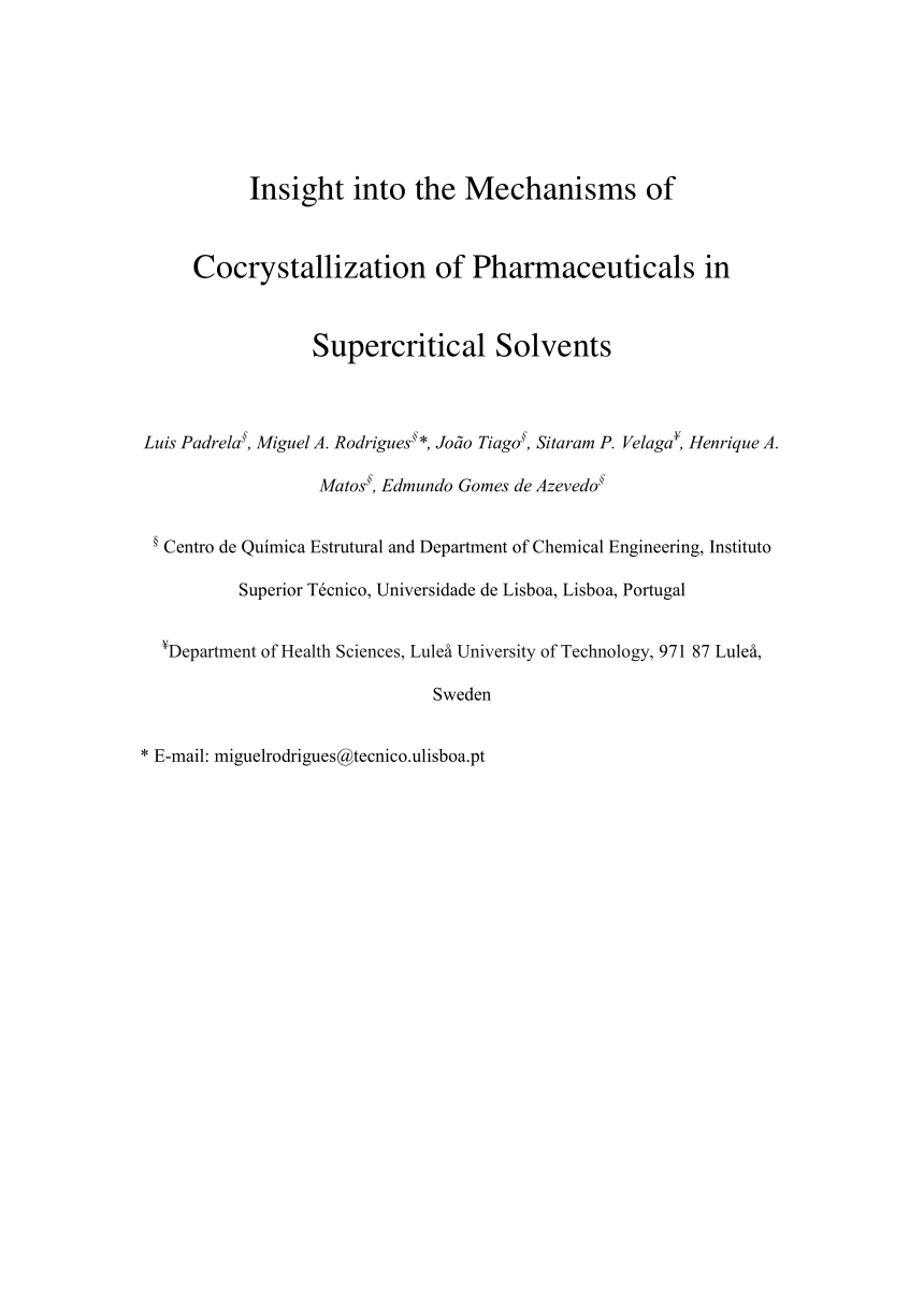 Insight into the mechanisms of cocrystallization of pharmaceuticals insight into the mechanisms of cocrystallization of pharmaceuticals in supercritical solvents fandeluxe