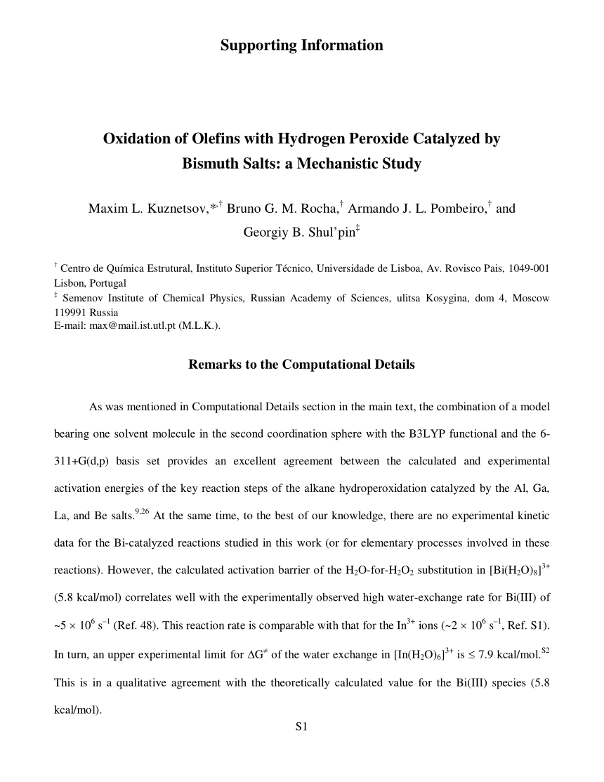 Oxidation Of Olefins With Hydrogen Peroxide Catalyzed By Bismuth Salts A Mechanistic Study