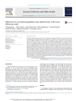 Adherence To Vaccination Guidelines Post Splenectomy A Five Year Follow Up Study