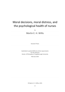 Moral decisions, moral distress, and the psychological