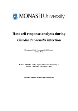 Host cell response analysis during Giardia duodenalis Infection