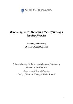 """""""Balancing 'me': Managing the self through bipolar disorder"""""""