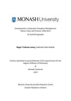 Developments in Australian Emergency Management Theory, Policy and Practice, 1930-2015