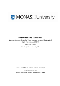 Victory at Home and Abroad: Overseas Correspondents, the African American Press, and the Long Civil Rights Movement, 1939-1946
