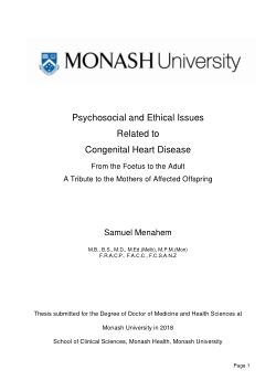 Psychosocial and Ethical Issues Related to Congenital Heart Disease: From the Foetus to the Adult - A Tribute to the Mothers of Affected Offspring