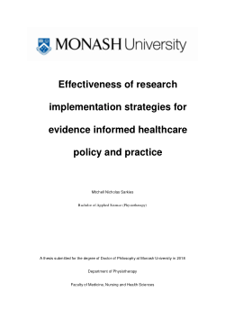 Effectiveness of research implementation strategies for evidence informed healthcare policy and practice
