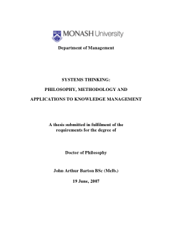 Systems Thinking: Philosophy, Methodology and Applications to Knowledge Management
