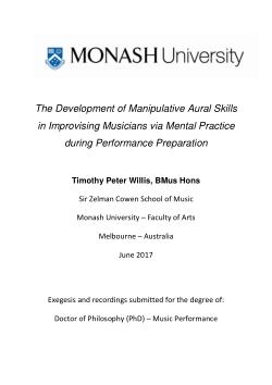 The Development of Manipulative Aural Skills in Improvising Musicians via Mental Practice during Performance Preparation