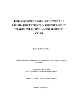 Risk Assessment and Management of Psychiatric Patients in the Emergency Department during a Mental Health Crisis