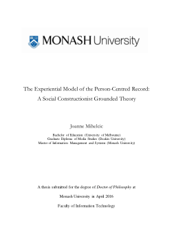 The Experiential Model of the Person-Centred Record: a social constructionist grounded theory