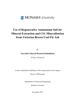 Use of regenerative ammonium salt for mineral extraction and CO₂ mineralisation from Victorian brown coal fly ash