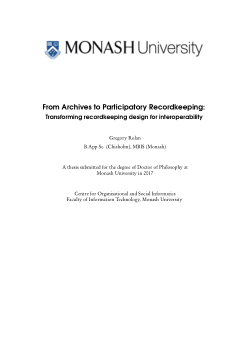 From Archives to Participatory Recordkeeping:  Transforming recordkeeping design for interoperability