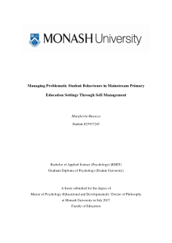 Managing Problematic Student Behaviours in Mainstream Primary Education Settings Through Self-Management