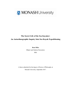The Secret Life of the Sea Kayaker: An Autoethnographic Inquiry Into Sea Kayak Expeditioning