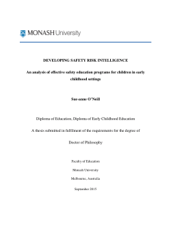 Developing safety risk intelligence an analysis of effective safety education programs for children in early childhood settings
