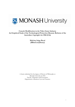 Console modification in the video game industry an empirical study of the technological protection measure reforms of the Australian Copyright Act 1968 (Cth)