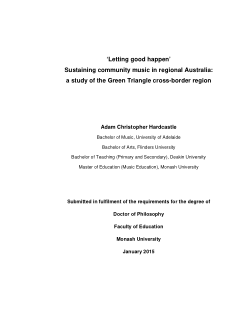 'Letting good happen' sustaining community music in regional Australia: a study of the Green Triangle cross-border region