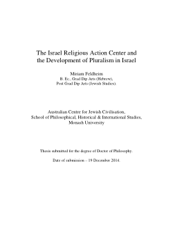 The Israel Religious Action Center and the development of pluralism in Israel / Miriam Feldheim