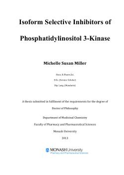Isoform selective inhibitors of phosphatidylinositol 3-kinase / Michelle Susan Miller