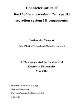 Characterisation of Burkholderia pseudomallei type III secretion system III components