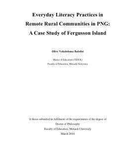 Everyday literacy practices in remote rural communities in PNG : a case study of Fergusson Island / Olive Vakaloloma Baloiloi