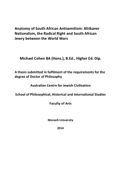 Anatomy of South African antisemitism : Afrikaner nationalism, the Radical Right and South African Jewry between the world wars / Michael Cohen