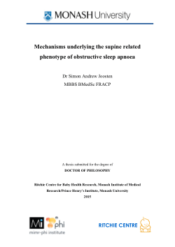 Mechanisms underlying the supine related phenotype of obstructive sleep apnoea / Simon Andrew Joosten