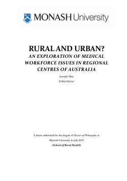 Rural and urban? an exploration of medical workforce issues in regional centres of Australia