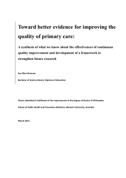 Toward better evidence for improving the quality of primary care: a synthesis of what we know about the effectiveness of continuous quality improvement and development of a framework to strengthen future research