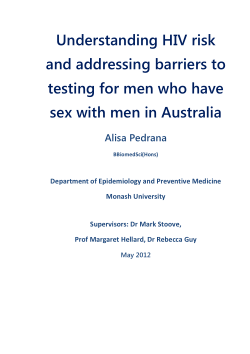 Understanding HIV risk and addressing barriers to testing for men who have sex with men in Australia