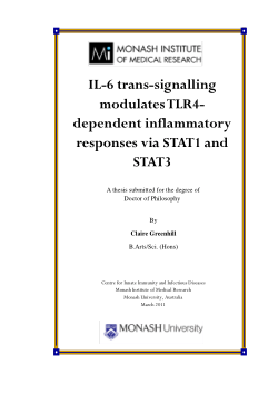 IL-6 trans-signalling modulates TLR4-dependent inflammatory responses via STAT1 and STAT3 / Claire Greenhill