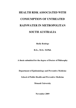 Health risk associated with consumption of untreated rainwater in metropolitan South Australia / Shelly Rodrigo