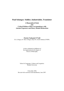 Paul Solanges : soldier, industrialist, translator : a biographical study and critical edition of his correspondence with Antonio Fogazzaro and Henry Handel Richardson