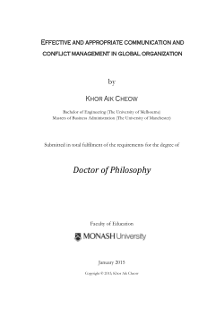 Effective and appropriate communication and conflict management in global organization / Khor Aik Cheow