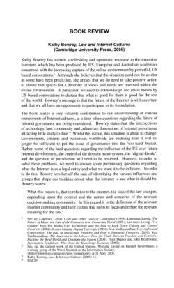Kathy Bowrey, Law and Internet Cultures (Cambridge University Press, 2005)