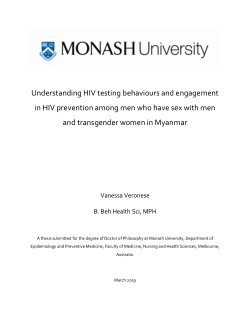 Understanding HIV testing behaviours and engagment in HIV prevention among men who have sex with men and transgender women in Myanmar