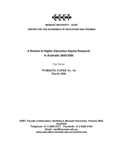 A review of higher education equity research in Australia 2000-2005 / Fran Ferrier