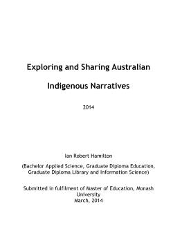 Exploring and sharing Australian Indigenous narratives / Ian Robert Hamilton