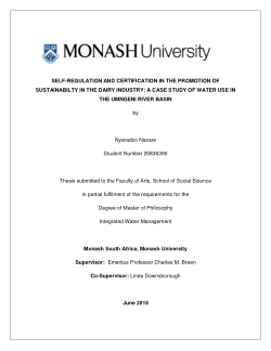 Self-regulation and certification in the promotion of sustainabilty in the dairy industry: a case study of water use in the uMngeni River basin