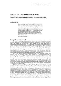 Battling the Land and Global Anxiety: Science, Environment and Identity in Settler Australia