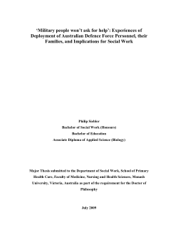'Military people won't ask for help : experiences of deployment of Australian Defence Force personnel, their families, and implications for social work