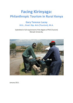 Facing Kirinyaga : philanthropic tourism in rural Kenya / Gary Terence Lacey