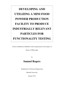 Developing and utilizing a mini food powder production facility to produce industrially relevant particles for functionality testing