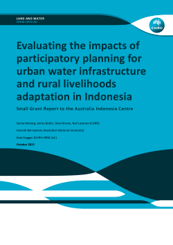 Report: 'Evaluating the impacts of participatory planning for urban water infrastructure and rural livelihoods adaptation in Indonesia'