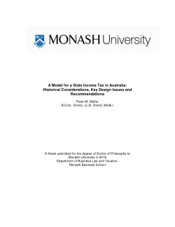 A Model for a State Income Tax in Australia: Historical Considerations, Key Design Issues and Recommendations