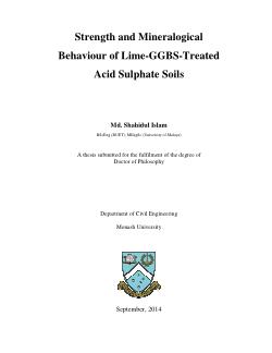 Strength and mineralogical behaviour of lime-GGBS-treated acid sulphate soils / Md. Shahidul Islam